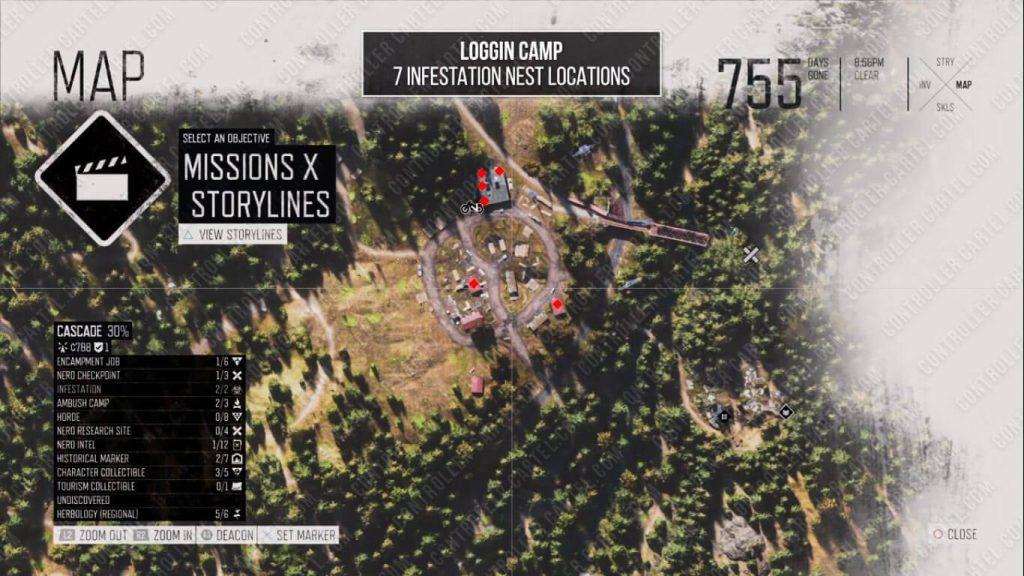 Logging Camp Nest Locations