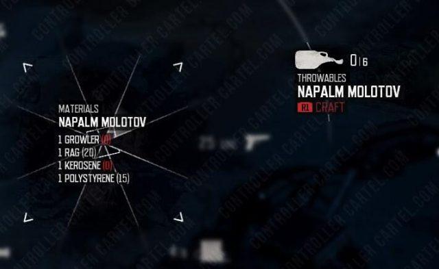 Days Gone Napalm Molotov Crafting Recipe
